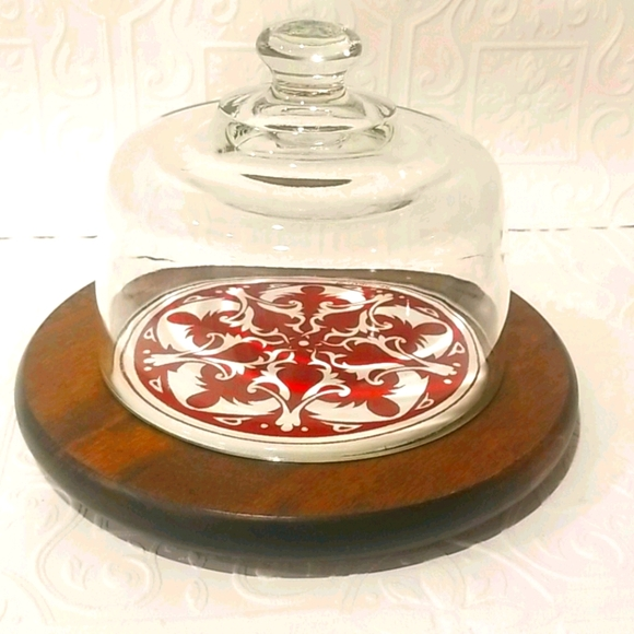 Vintage Tiled Cheeseboard With Glass Cloche